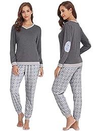 a1650f8fe6 Abollria Damen Pyjama Set Baumwolle Schlafanzug Lang Mädchen Langarm  Hausanzug Sleepwear öko Freizeitanzug Hausanzug Anzug V