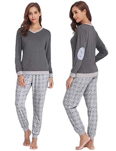 Abollria Damen Pyjama Set Baumwolle Schlafanzug Lang Mädchen Langarm Hausanzug Sleepwear öko Freizeitanzug Hausanzug Anzug V Aussschnitt mit Gepunkte Hose