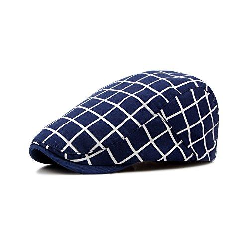 Unisex Barett Klassisch Kariert Kappe Freizeithut Baseballmütze Blaser Outdoor Schirmmütze One size( Kopfumfang 55-59cm ) Weiß Blau (Karierte Klassische Kappe)