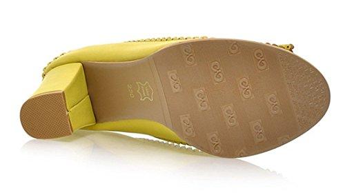 YE Damen Chunky High Heel 7cm Heels Retro Pumps mit Bequem Blockabsatz Elegant Schleife Abendschuhe Gelb
