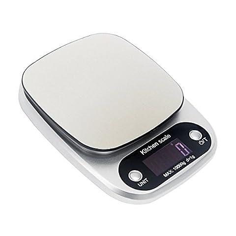 Signstek balance numérique de poids pour cuisine, multifonction en acier inoxydable balance de cuisine balance de alimentaire électronique avec écran LCD et fonction de tare (10kilogram)