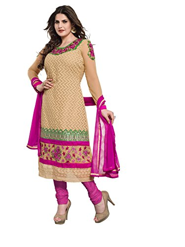 Khushali Fashion Women Georgette Salwar Suit Dress Material (Za06 _Biege _Free Size)  available at amazon for Rs.1041