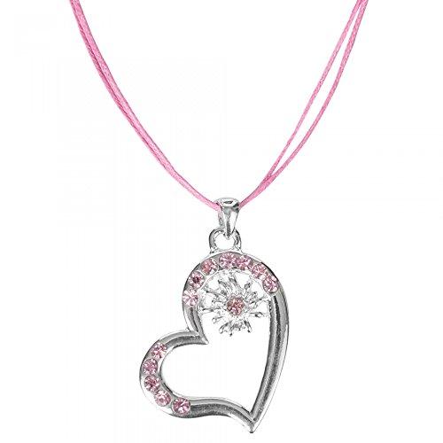 e Trachtenschmuck Halskette Anhänger Herz Trachten Kette mit Strass und Edelweiss in 5 Farben TSK1, Farbe:Pink, Größe Onesize:Onesize (Trachten Schmuck Halskette)