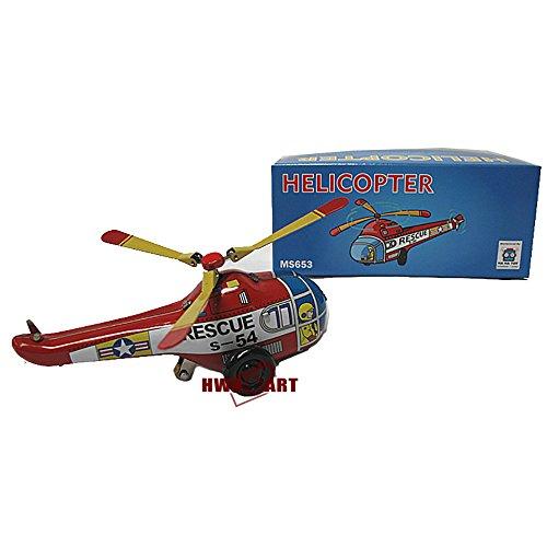 Mini helicóptero de rescate retro reloj cuerda hasta juguete de hojalata MS653