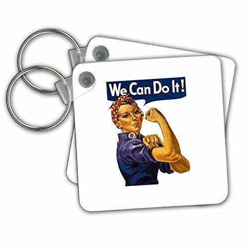 """3dRose Vintage Rosie la remachadora segunda guerra mundial American feministas icono podemos hacerlo-clave cadenas, 2.25""""x 2.25"""", Set de 2(KC 244029_ 1)"""