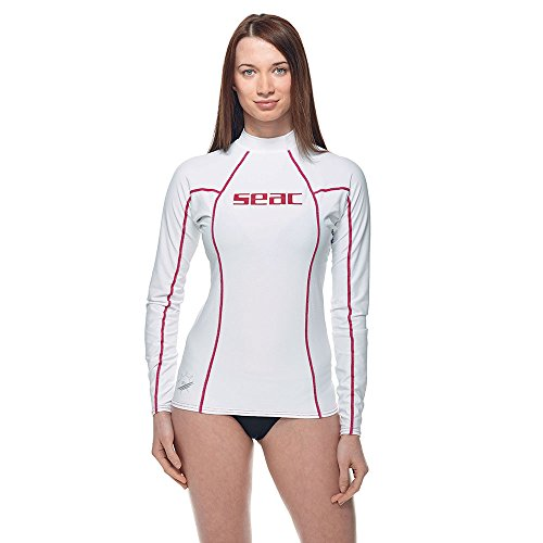 SEAC - Maglia anti UV a maniche lunghe da donna Bianco (Weiss/Rosa)