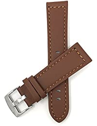 b162c1767 26mm Tan Racer with Stitching, Genuine Leather Watch Strap Band, with  Stainless Steel Buckle