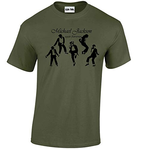 Mens Michael Jackson 1958 - Forever Music T Shirt-Military Green-X-Large