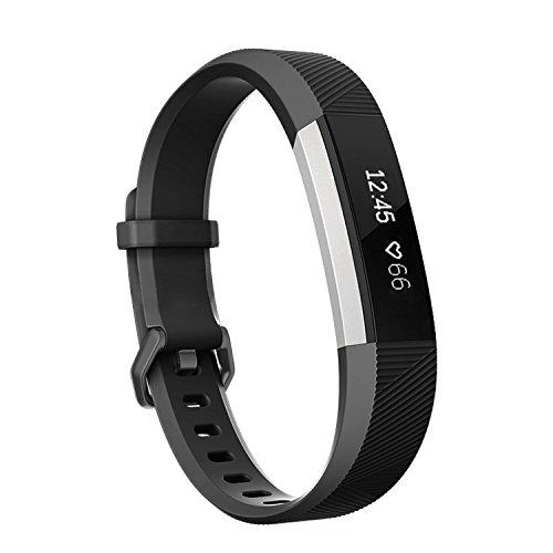 Fitbit Alta HR und Fitbit Alta Armband,SnowCinda Verstellbares Karo Köper Ersatzarmband Wristband Silikonarmband Fitness Zubehörteil mit Metallschließe Schwarz L