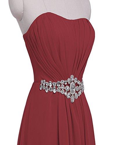 Fashion Plaza chiffon lange Trägerlosen Abendkleid mit einer schönen Gürtel Modul D004 Burgundy