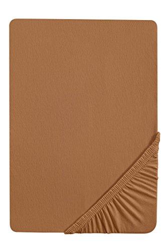 #19 biberna Jersey-Stretch Spannbettlaken, Spannbetttuch, Bettlaken, 140x200 – 160x200 cm, Camel