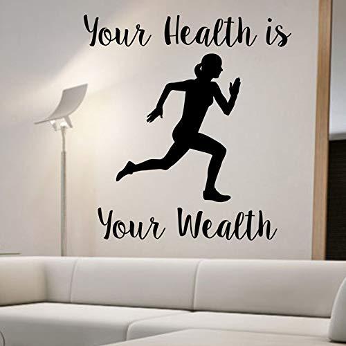 Ihre Gesundheit ist Ihr Reichtum Wandtattoo Zitat Art Decor Schlafzimmer Design Wandbild Sport Aktiv Gesundes Leben Home Decora58cmx52cm