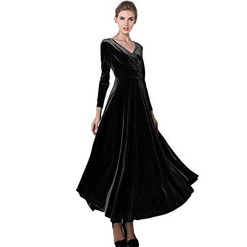 ❤HappyQn❤ Damen Lange Cocktailkleider Langarm Abendkleid Maxi Samt Party Kleid -