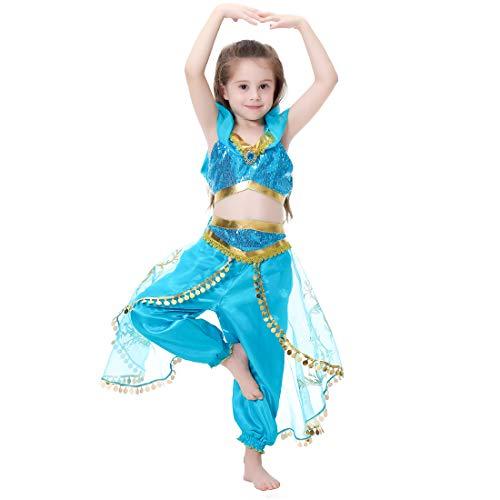 Magogo Aladdin Jasmin Prinzessin Kleid mädchen Cosplay Dance kostüm Party ausgefallene Kleidung glänzende Karneval Disney Outfit (M ()