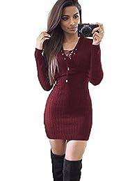 Vestido de Punto de Mujer, LILICAT 2017 Venta caliente Vestido Corto con Escote de Manga Larga de Invierno, Vestido de Fiesta Sexy y Elegante (M, Vino Rojo)