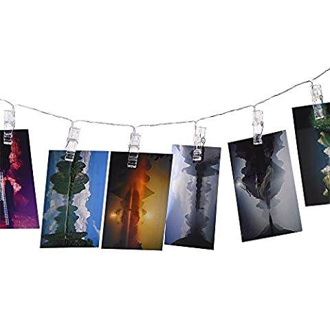 Honeyall 16 Photo Clips with LED String lights,4,5 Meter/15 Feet,3 1.5V AA Batteries Powered,for Hanging and displaying Pictures, Notes, Artwork,Picture(White light) by Honeyall