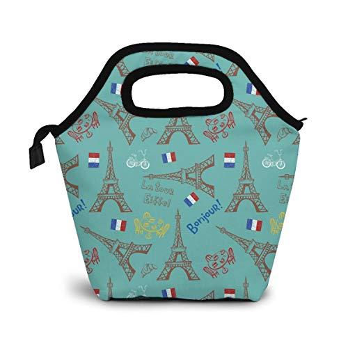 CAKLUNCHON Frankreich Symbole Von Paris Mittagessen Tasche,Lunch Bag Wiederverwendbare Picknick Tasche Thermisch Kühler Multifunktion Lebensmittel Behalter mit
