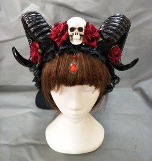 Changlesu Horn Stirnband Gothic Devil Floral Horns Kopfschmuck Halloween Schädel Zubehör mit Schleier Fancy Dress Haarschmuck (Stil - Kostüm Mit Hörner