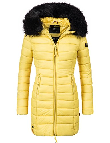 Marikoo Damen Winter-Mantel Steppmantel Rose (vegan hergestellt) Gelb Gr. XL
