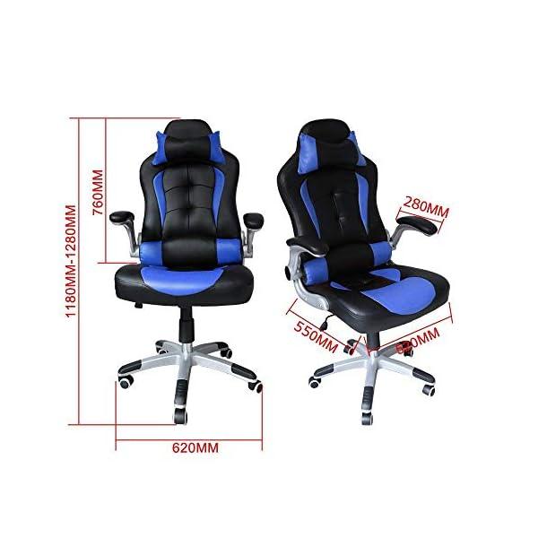 HG® Pu Racing Chair Silla De Oficina Comfort Executive Chair Silla Giratoria Naranja Altura Ajustable Capacidad De Carga 120 Kg