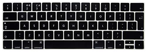 """XIHAMA Silikon Tastaturschutz mit Touch Bar, Hauchdünner Tastatur Schutzfolie Cover Haut für neue 2016-2018 MacBook Pro 13"""" A1989/A1706 MacBook Pro 15"""" A1990/A1707 ((UK Version) schwarz)"""