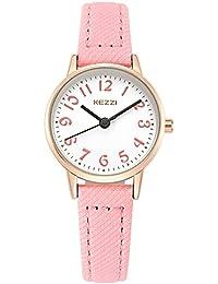 KEZZI - Montre à Quartz Enfant Fille Cadran Ronde Bracelet en Cuir PU - Montre Etanche à L'eau 30 M simple Vintage Couleur Rose