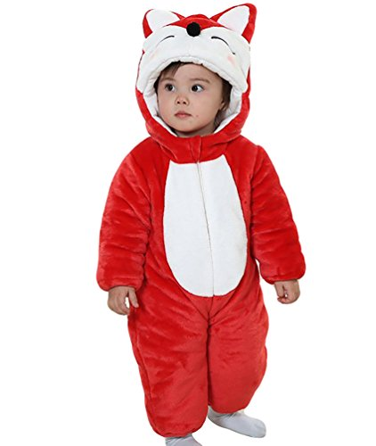 eb47f2c44c1e8d MissFox Pagliaccetti Flanella Bambino Ragazzo Neonata Animali Tuta Kigurumi  Pigiama Anime Halloween Costume - Rosso Volpe