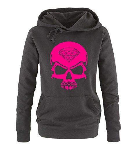 Comedy Shirts - Skull Diamond - Damen Hoodie - Schwarz/Pink Gr. L -