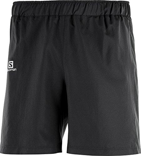 Salomon shorts para running, agile 7', tafetán, negro, hombre, talla: S
