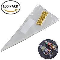 Iraza Bolsas de Cono 100 Piezas Triángulo Claro Bolsas de Celofán de Plástico para la Boda Fiesta Galletas Dulces Transparente,16 x 30 cm (16 x 30cm)