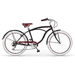 "MBM Honolulu - Bicicleta de paseo para hombre de 6 velocidades, cuadro de acero talla 47, frenos V-Brake, horquilla acero y ruedas de 26"", color negro"