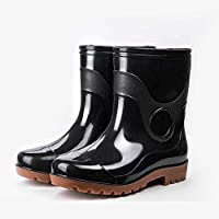 Giow Mid-Tube Rain Boots, Male Non-Slip Shoes Work Waterproof Boots Pvc Four Seasons