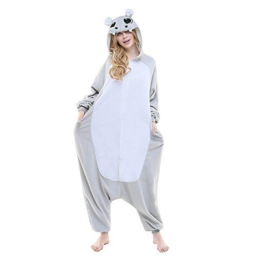 Spielanzug Kostüme Kigurumi Pyjamas Grau Nilpferd Flusspferd Erwachsene Unisex Animal Cosplay Overall Pajamas Anime Schlafanzug (Nilpferd Kostüme Erwachsene)