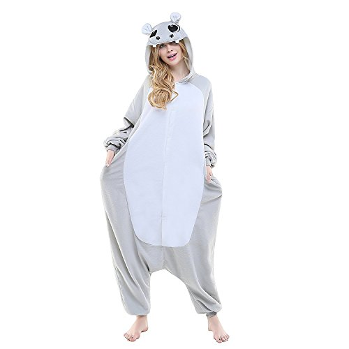 Kostüme Cosplay Pyjamas Grau Nilpferd Flusspferd Erwachsene Unisex Animal Cosplay Overall Pajamas Anime Schlafanzug Jumpsuits ()