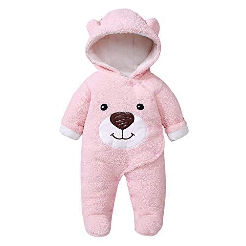 DEtrade 0-12M Süß Bär Säuglingsbaby-Jungen tragen Winter-Reißverschluss-starken Schneeanzug Hoodie-Mantel-Overall (Age:6-9 Months, Pink) (Bären Haut Kostüm)