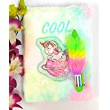 Tera13 Unicorn Feather Diary with Pen for Girls