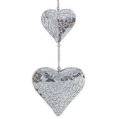 """""""Silber Duo"""" Sonnenfänger 2 schöne Spiegel Mosaik Herzen zum Aufhängen Garten oder Haus Deko von Gardens2you - Du und dein Garten"""