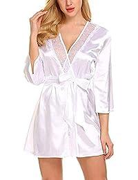 Forall-Ms Bata De SatéN para Mujer, Batas De Estilo Kimono Cortas con Bata De Encaje Y Pijama De Dama De Honor…