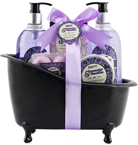 BRUBAKER Cosmetics - Coffret de bain - Lavande/Vanille - 8 Pièces - Baignoire décorative - Noir/Violet - Idée cadeau