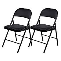 Beliwin Folding Chairs Black Padded, Faux Leather and Strong Iron Pipe, for Home Office Dinning-Set of 2