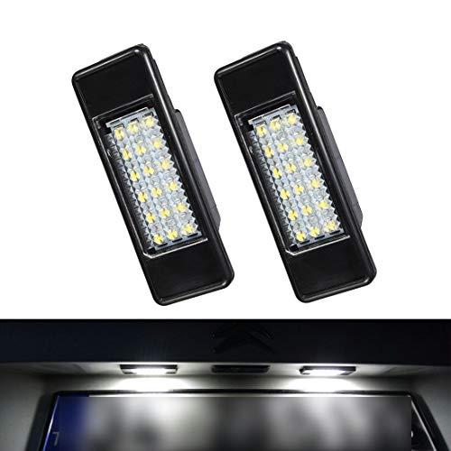 VIGORFLYRUN PARTS LTD 2pcs Auto 18 LED Kennzeichenbeleuchtung Nummernschildbeleuchtun Licht für Peugeot 106 1007 207 307 308 3008 406 407 508 806 Citroen C2 C3 C4 C5 C6 DS3 -