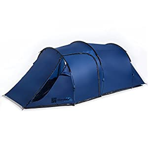 skandika fauske 3 person man compact tunnel tent, with 3 entrances, 3000mm water column & mosquito netting