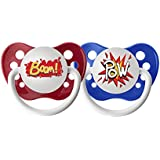 Ulubulu Pacifiers for Boys, Pow and Boom, 0-6 Months