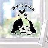 wandaufkleber babyzimmer mädchen Willkommener niedlicher schwarzer Hundeaufkleber-Laden-Flur