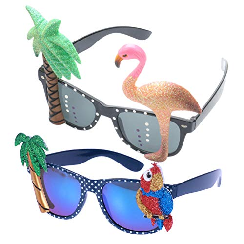 Toyvian Hawaiian Tropical Neuheit Sonnenbrille Flamingo Parrot Tree Party Brillen Eyewear