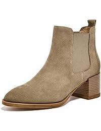 SimpleC Mujeres Martin Boots Clásico Sin Cordones Punta Puntiaguda, Botines de Tobillo con 5.5cm