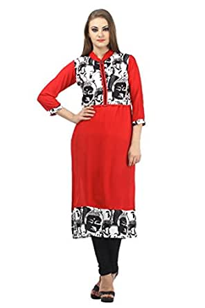 Dashmesh Women's Red Reyon Long Kurti With Jacket_S