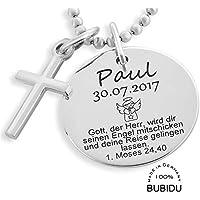 Echt Silber 925 Baby Taufe Stern Armkette Kreuz Anhänger mit Name Datum Gravur