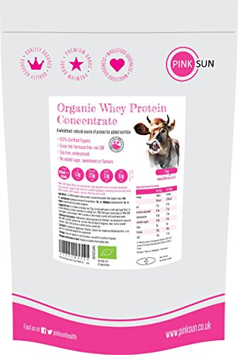 PINK SUN Molkenproteinpulver Bio 1kg Molkenprotein Pulver 1000g - Sojafrei Glutenfrei Ohne Zucker - Hormonfreie Molke auf Grünfutterbasis Geschmacksneutral Zertifiziertes Biologisches Neutral Pur Natur - Grass Fed Organic Whey Protein Concentrate Powder