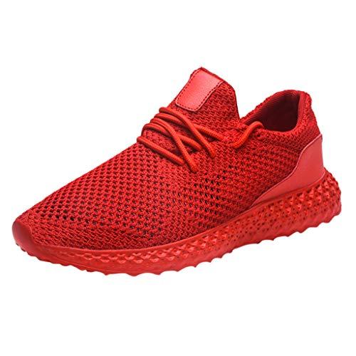 Muamaly Turnschuhe Männer Laufschuhe Herren Sportschuhe Mode Freizeit Sneaker Dämpfung Leichtgewichts Atmungsaktive Schuhe Straßenlaufschuhe Running Shoes Men (Rot, 46) -